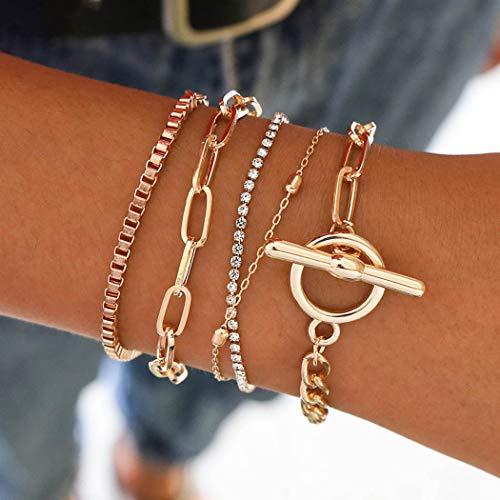 Bohend Mode En couches Bracelets Or Strass Ajustable Chaîne à main Multicouche Métallique Bracelet Bijoux pour Femmes et filles
