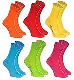 Rainbow Socks - Hombre Mujer Calcetines Colores de Algodón - 6 Pares - Naranja Rojo Amarillo Verde Mar Verde Fucsia - Talla UE 42-43