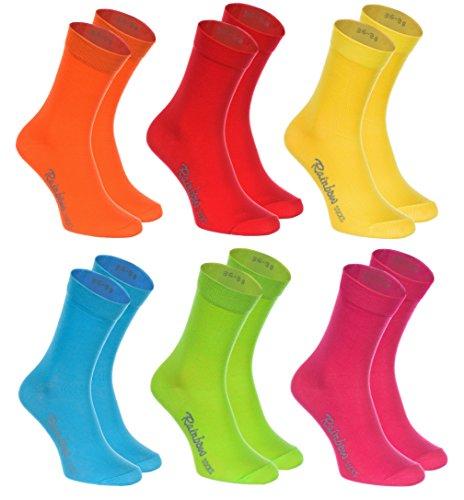 Rainbow Socks - Damen Herren Klassische Bunte Baumwolle Socken - 6 Paar - Orange Rot Gelb Grün Mer Grün - Größen 39-41