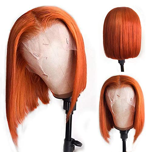 Bob Wig Human Hair Orange Colored Pre Plucked Lace Front Virgin Hair Bob Cut Short Straight Human Hair Pre Plucked For Black Women 150% Density Remy Brazilian Deep Part Lace Front Wigs 10inch
