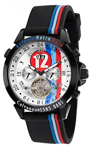 Calvaneo 1583 Herren-Armbanduhr Astonia Retro Race Analog Automatik Silikon weiß 107913