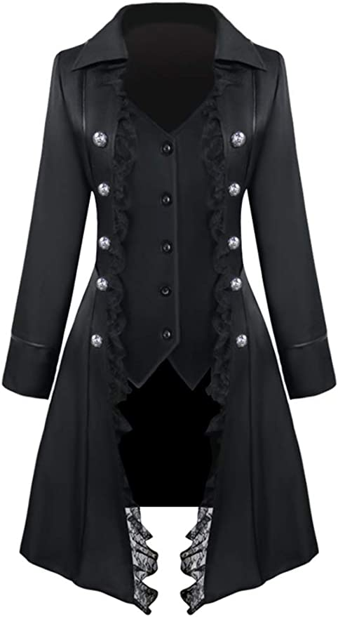 Steampunk Clothing, Fashion, Costumes Nihsatin Vintage Womens Steampunk Victorian Swallow Tail Long Trench Coat Jacket Thin Outwear  AT vintagedancer.com