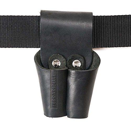 Porta Tenaglia - en cuir Vero, noir, rivets Chrome, ceinture inclus