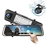 Mirror Dash Cam 10 inch 1080P Full Touch Screen Stream Media Front Rear Dual Lens Dashboard Recorder...