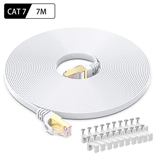 CAT 7 Ethernet-Kabel 7m, BUSOHE Hochgeschwindigkeits- Gigabit RJ45 LAN Netzwerkkabel, 10Gbps 600Mhz Internet Patchkabel für Switch Router Modem Patch Panel PC (weiß)