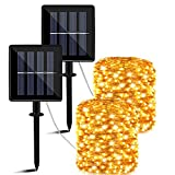 Guirnaldas Luces Exterior Solar, 14m 140 LED Luces Solares Exteriores Jardin,8 Modos...