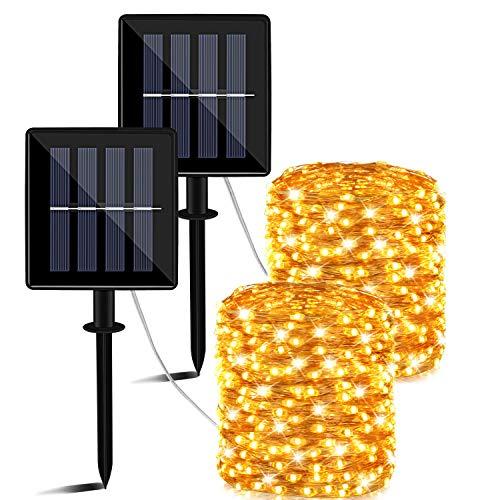 Guirnaldas Luces Exterior Solar, 14m 140 LED Luces Solares Exteriores Jardin,8 Modos Cadena de Luces,luz de decoración impermeable para Navidad Arbol,Patio,Jardines,Terraza, Fiestas,Bodas,Festivales