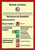 Schild Aushang Brandschutzordnung ohne Brandmelder | Verhalten im Brandfall | extra langnachleuchtend | PVC 29,7 x 21 cm | DIN EN ISO 7010 | Verhaltensregel Betriebsaushang Hinweisschild Brandschutz