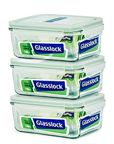 Glasslock Food-Storage Container with Locking Lids Microwave Safe Rectangular 37oz/1100ml Pack of 3