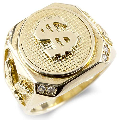 [アトラス] Atrus リング メンズ sv925 スターリングシルバー キュービックジルコニア イエローメッキ 印台 カレッジリング 幅広 $ ドルマーク 指輪 22号