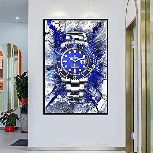 HUANGXLL Reloj para habitación, Pintura en Lienzo, decoración del hogar, Arte de Pared Inspirador, Abstracto, Azul Claro, impresión de geometría, imágenes artísticas de pared-60x90cm-sin Marco