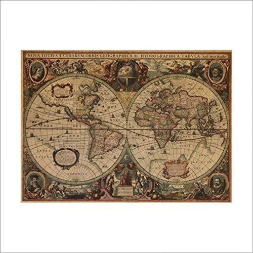 WWALL Wandaufkleber Alte Seekarten Vintage Kraftpapier Poster Wandaufkleber Raum Decorationx Abziehbild Global Maps Wandkunst