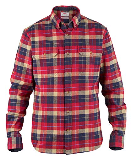 FJÄLLRÄVEN Singi Heavy Flannel Shirt M T-Shirt à Manches Longues Homme Deep Red FR: L (Taille Fabricant: L)
