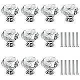 Kristall Schrankknöpfe - ARPDJK 10 Stück 30MM Diamant Klarglas Griffe mit Schraube, Möbelknöpfe für Dekorative Schubladen Schränke Kommode Truhen