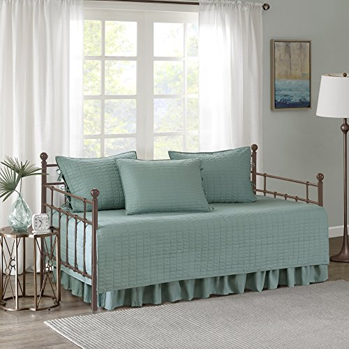 Comfort Spaces Kienna Soft Microfiber Solid Blush Stitched Pattern 5 Piece Quilt Daybed Bedding ...