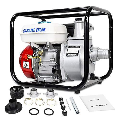 ECO LLC Gas-Powered Water Transfer Pump 2 Inch 160CC 158GPM Heavy Duty Semi-Trash Clean Water Pump Gasoline Engine for Pool Water Remove, lawn garden Irrigate