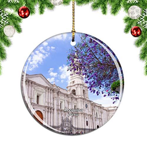 Weekino Plaza de Armas Arequipa Perú Decoración de Navidad Árbol de Navidad Adorno Colgante Ciudad Viaje Colección de Recuerdos Porcelana 2.85 Pulgadas