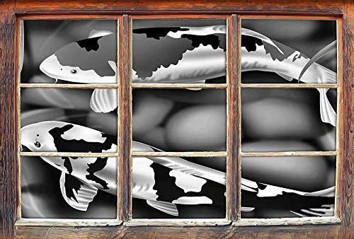 KAIASH 3D Pegatinas de Pared Monocromo Noble Koi Carp Art Window en 3D Look Etiqueta de Pared o Puerta Etiqueta de la Pared Decoración de la Pared 92x62cm