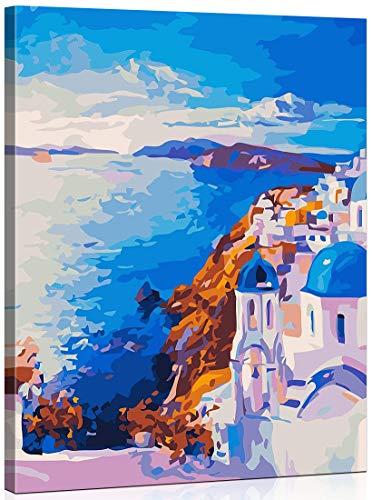 MILEADER Pintar por Numeros DIY Pintura al óleo Kit para Adultos Niños, 16 * 20 Pulgadas Kit de Pintura por Números para Niños - Santorini (con Marco de Madera)