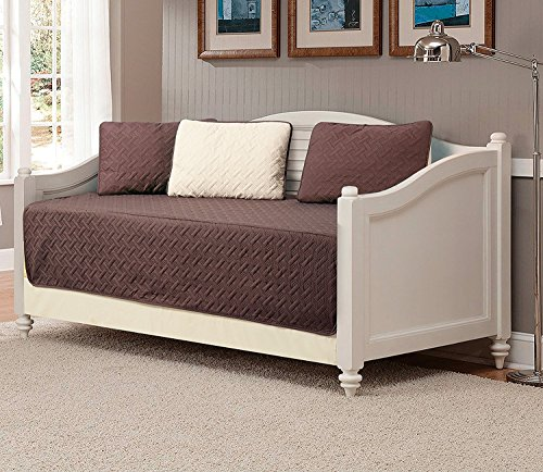 Linen Plus 5pc Daybed Cover Solid Embossed Bedspread New (Coffee Brown/Beige)