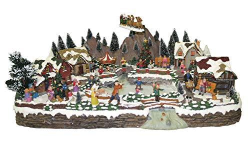 25 twentyfive Pueblo navideño Animado con Pista de Patinaje, Trineo de Papá Noel, Luces y música - 64 x 27 x 46 cm