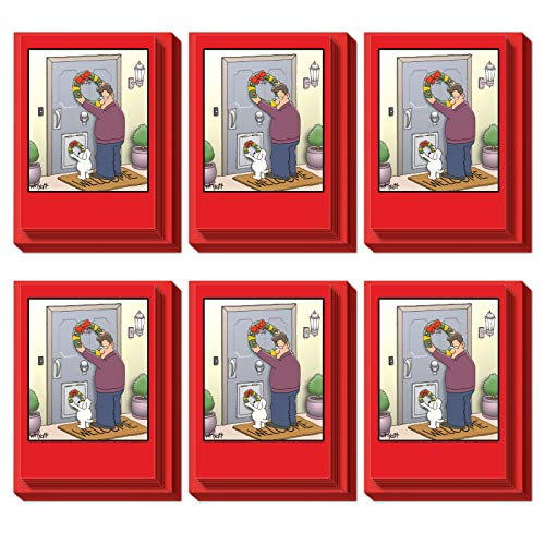 NobleWorks - 36 Funny Christmas Cards Bulk (1 Design, 36 Cards) - Boxed Holiday Greetings, Humor Notecards for Xmas - Dog Wreath C1657XSG-B36