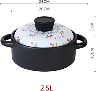 PLLXY Multi Cooker Stock Pot,Nonstick Coating Clay Pot Stone Bowl,Mother Printing Casserole Pan,Ceramic Cookware with Lid ...