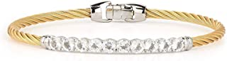 ALOR Burano Yellow Cable Classic Stackable Bracelet with White Topaz