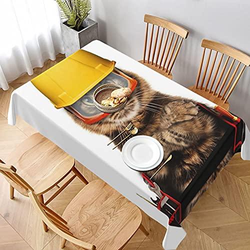 Mantel Rectangular,Gato con Artes de Artesano sobre Fondo Blanco,Manteles Lavable Antimanchas de Mantel para jardín Habitaciones decoración de Mesa 137x183cm