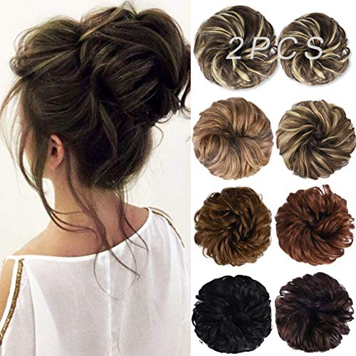 Messy Bun Hair Piece, HOOJIH 2PCS Tousled Updo Hair Extensions Hair Bun Curly Wavy Ponytail Hairpieces Hair Scrunchies with Elastic Rubber Band for Women Girls Golden Brown Blonde Highlights F10/22