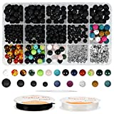 WOWOSS 500 Pcs Lava Beads Kit, Lava Stone Rock Beads Chakra Beads Spacers Beads with 2 Rolls Elastic Bracelet String and Needle for Diffuser Essential Oils Necklace Jewelry Making Supplies