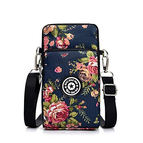 QUUY schoudertas voor dames, bedrukte Oxford stof mobiele telefoon zak in Koreaanse stijl schoudertas met ritssluiting, kleine schoudertas voor sport, fitness, vrije tijd, winkelen, reizen