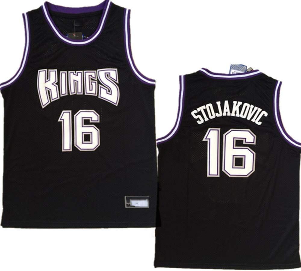 XIAOHAI Hombres Camisetas de la NBA Sacramento Kings # 16 Peja Stojakovic Transpirable Resistente al Desgaste Malla Bordado Baloncesto del Swingman de los Jerseys