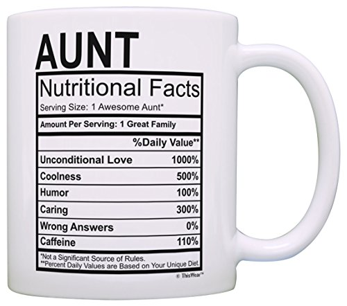 Mothers Day Gifts for Aunt Nutritional Facts Label Funny Gifts for Aunt Gag Gift Coffee Mug Tea Cup...