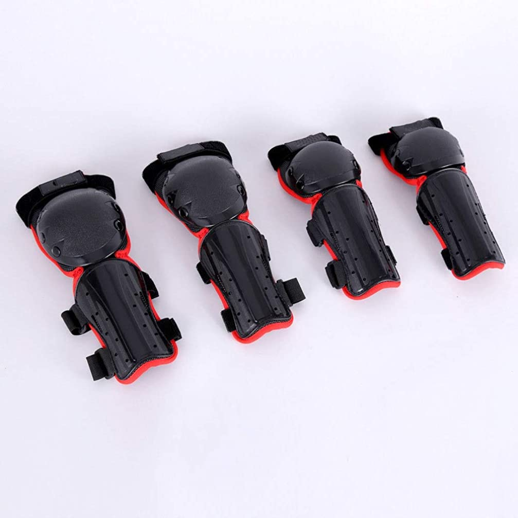 波太鼓腹ナプキンETH 子供のクロスカントリーレギンスオートバイ防護服膝パッド肘4セットのナイト機器 ユニーク (色 : Red)