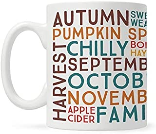 Fall Autumn Season Coffee Mug, Gift for Fall Lover, Thanksgiving Pumpkin Spice Sweater Weather Cup