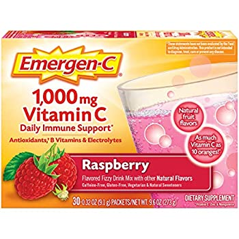 Emergen-C Vitamin C 1000mg Powder  30 Count Raspberry Flavor 1 Month Supply  With Antioxidants B Vitamins And Electrolytes Dietary Supplement Fizzy Drink Mix Caffeine Free