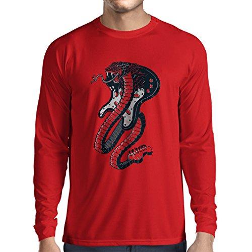 lepni.me Camiseta de Manga Larga para Hombre Guitarra eléctrica Serpiente Cobra, Amante...