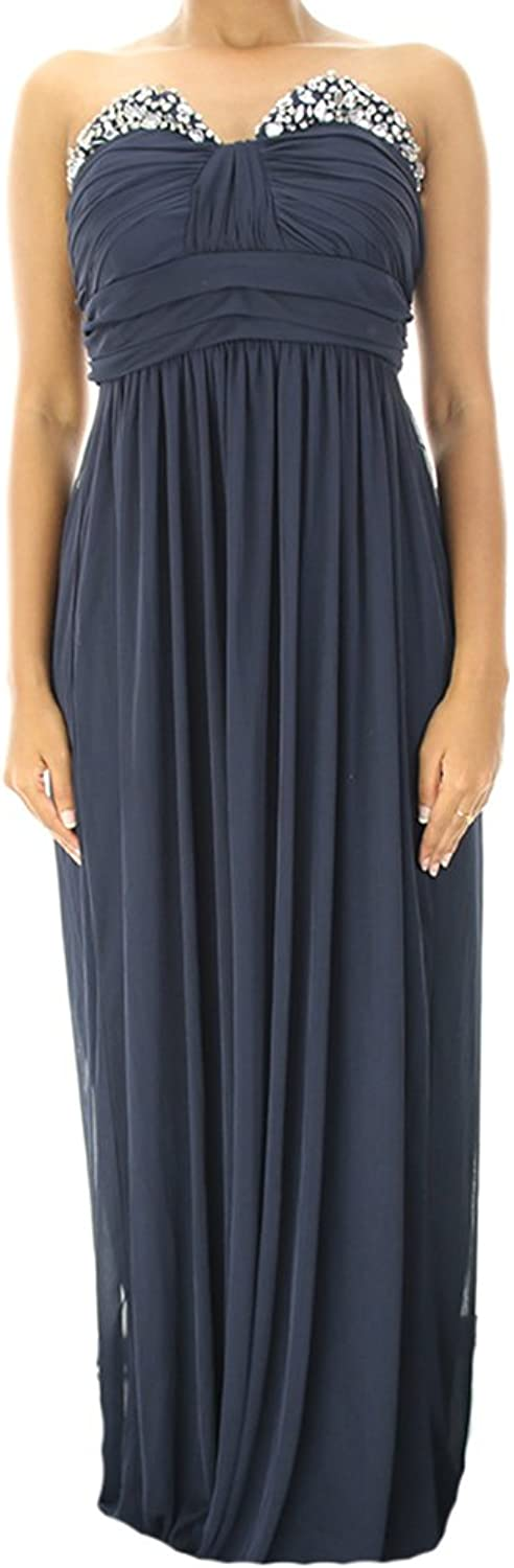 City Studios Navy Strapless Jewel Gown 9