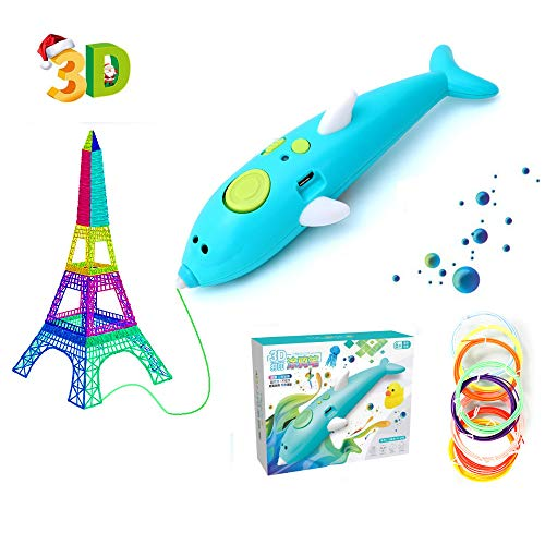 3D Printing Pen, Intelligent 3D Pen with PLA Filament Refills, 3D Craft Pen with Kinds of Moulds, USB Charging, Smart Temperature Control, Interesting Arts Crafts Gift for Kids & Adults