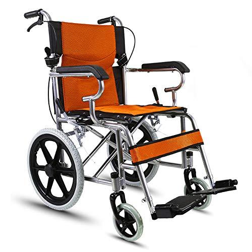 LOO LA Faltbar Leichtrollstuhl Rollstuhl Sanitätshaus Toilettenstuhl Multi-Size-Rollstuhlsitzhöhe Mobiclinic Faltrollstuhl,Orange,nonfoldable