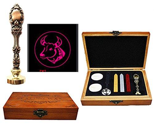 MNYR 12 Constellations sello de cera de madera caja de latón rojo mango de metal cuchara de fusión vela de boda invitación tarjeta de regalo de vela, sello de cera personalizado Tauro.