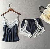 MALATA Women's SleepwearSatin Pajama Set White Lace V-Neck Pyjamas Sleeveless Cute Cami Top and Shorts,As The Photo Show,S