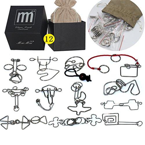 Holzsammlung Rompecabezas de Metal, 12 Piezas 3D Classic Puzzles Educativo Habilidad Logica Alambre de Mente Juego de Prueba de Inteligencia Juguetes Cumpleaños Navidad Regalo para Adultos Niñ