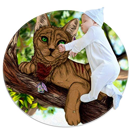 Blue Eyes Cat On Tree Nursery Round Rug for Kids Room Soft and Smooth Suede Surface Non-Slip Castle Tent Game Mat Best Gift for Your Kids 2feet 3.5inch