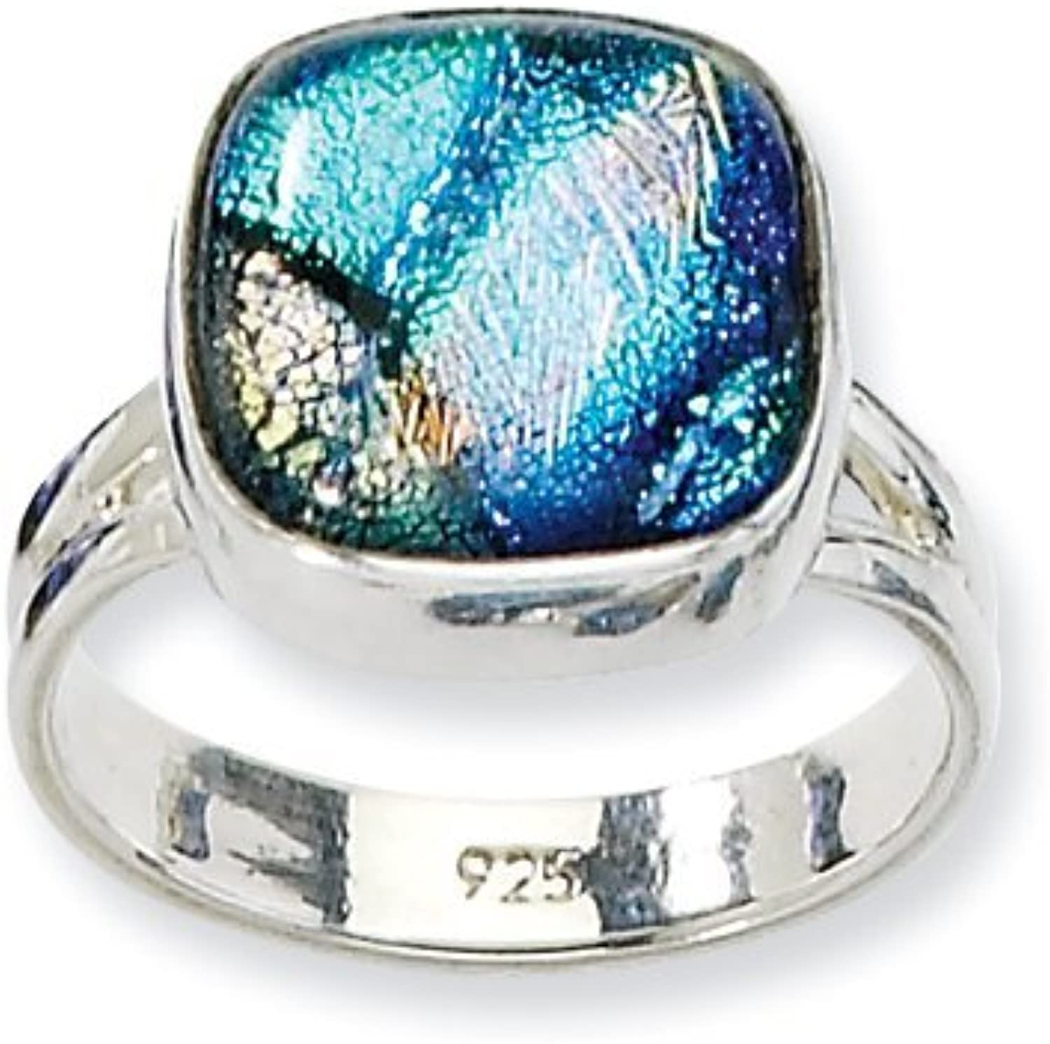 gold and Watches Sterling Silver bluee Dichroic Glass Ring