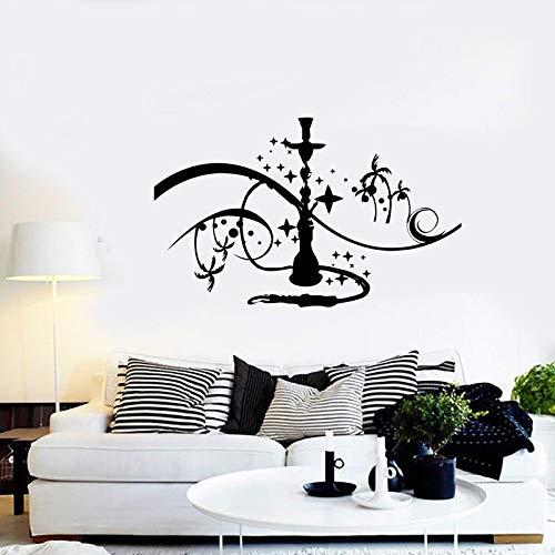 Etiqueta engomada de la pared de la cachimba Signo de la cachimba Etiqueta de la pared Etiqueta de vinilo Palm & Star Fumar Familia Dormitorio Etiqueta de fondo A8 91X57CM