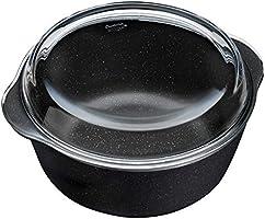 Paşabahçe Non-Stick Cam Kapaklı Yuvarlak Tencere, Siyah 3150Cc