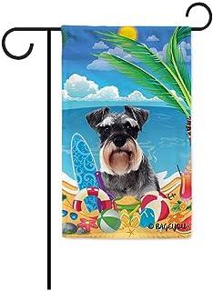 BAGEYOU Hello Summer My Love Dog Schnauzer On The Beach Garden Flag Cute Puppy Children Toys Lemon Juice Watermelon Flip F...
