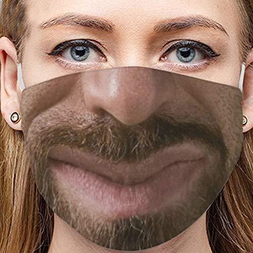 cinnamou Lustige Mundschutz, Karneval Mundschutz mit 3D Motiv Mund-Nasen-Schutz Staub Lustige Motive Wiederverwendbare Halstuch Bandana Mund und Nasenschutz
